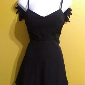 Black swan dark goth angel wings mini dress medium